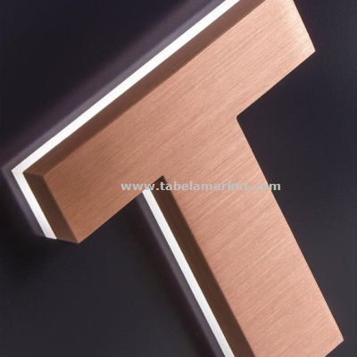 Yeni model ledli bakır rengi krom harf tabela