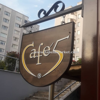 Cafe 5 Ahşap Akılı tabela