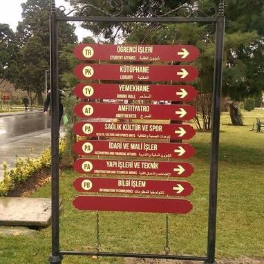 Zaim Üniversitesi Bahçe yön tabela çalışmamız