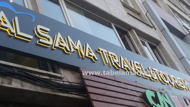 Alsama Turizm ışıklı krom tabela