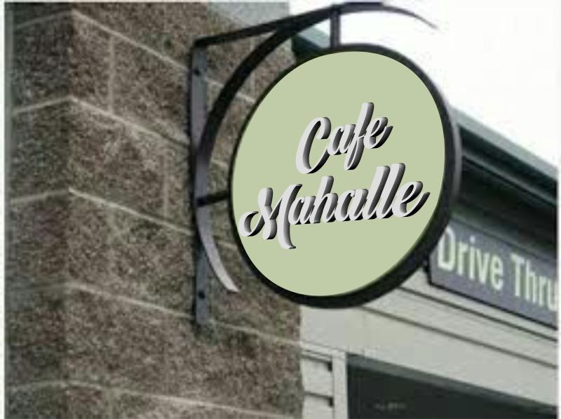Ferforje Tabela  Yuvarlak cafe tabelası